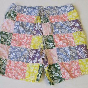J.Crew Mens 38 Hawaiian Patchwork Swimming Trunks